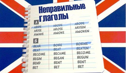 Список неправильных глаголов в английском языке